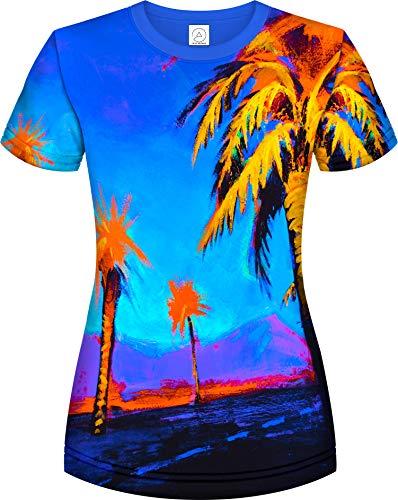 aofmoka Neon Birds Glowstick Palms Pack Clean Cool Women Cosmic Designed Tshirt