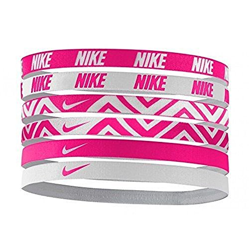NIKE Printed Assorted Headbands 6PK,OSFM (Vivid Pink/White