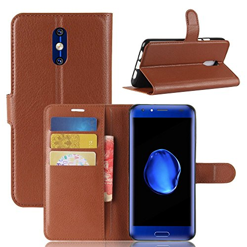 Ycloud Tasche für Doogee BL5000 Hülle, PU Kunstleder Ledertasche Flip Cover Wallet Hülle Handyhülle mit Stand Function Credit Card Slots Bookstyle Purse Design braun