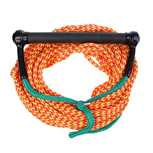 23M 10mm Cuerda de Wakeboard de Esquí Acuático con Mango de Agarre Correa de Esqui - Naranja Verde