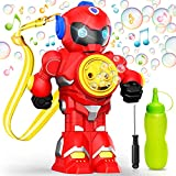 Hamdol Bubble Machine with Music and Light Automatic Bubble Blower for Kids Toddlers 3000+/Min Bubbles, 100ML Solution, Lanyard Included, No Leak Portable Robot Toy Bubble Maker for Indoor and Outdoor