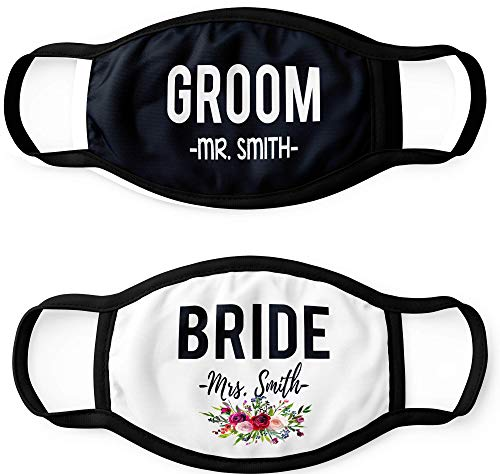 Pretty Phoxie Bride and Groom Face Masks - Custom Wedding Face Masks - Personalized Masks - Bridal Party Face Mask - Quarantine Wedding - Set of 2