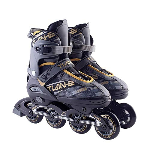 Kind Adolescente volwassenen rolschaatsen, verstelbare maten dames inline skates, verstelbare maten rolschaats quad skates, zwartgeel