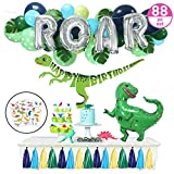 Dinosaur Party Supplies – 88pc Little Dino Party Decorations Set, 30' BIG T Rex, ROAR, Happy Birthday Banner, Tattoo Stickers, Jungle Theme Balloon Garland - Boys Girls Toddlers