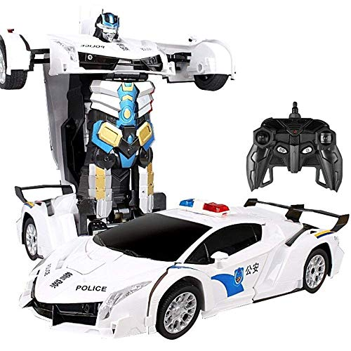YLJYJ Coche de Control Remoto de Gran tamaño - Coche de policía de Autobots RC 360 & deg;Coches de Acrobacias de rotación Coches electrónicos 1:12 Juguete eléctrico con Sonido (Coche Inteligente)