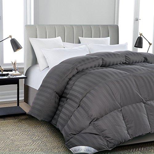 ROSECOSE Luxurious All Seasons Goose Down Comforter Queen Size Duvet Insert Gray Stripe 1200 Thread...