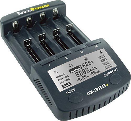 AccuPower Li-Ion/Ni-MH/Ni-Cd cargador de batería IQ328 + pantalla de funciones/descarga