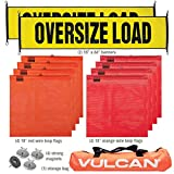 VULCAN Oversize Load Banners, Multi-Color Flags and Magnets Kit - Includes 2 Stretch Cord Oversize Load Banners, 4 Magnets, 4 Red Flags, 4 Orange Flags, and a High-Viz Vented Storage Bag