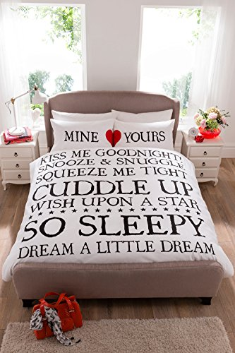 Mine & Yours Kiss Me Goodnight Duvet Cover Set - Single, Double & King Size (Double)
