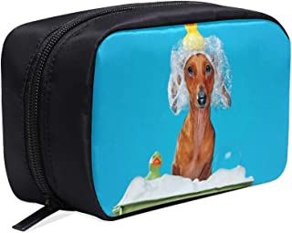 Dog Take A Shower With Soap And Water Portable Travel Makeup Cosmetic Bags Organizer Multifunction Case Small Toiletry Bags For Women And Men Brushes Case