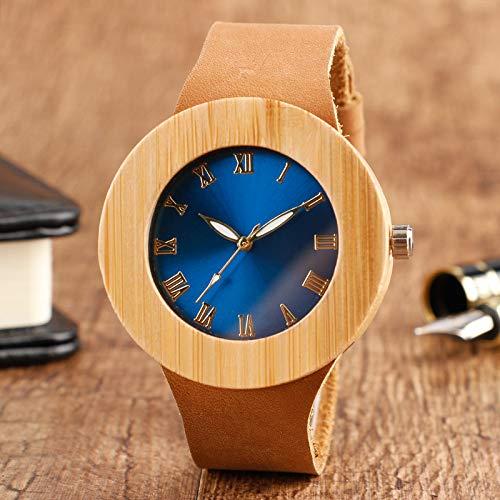 RWJFH Reloj de Madera Gran Oferta, Reloj de Pulsera de Madera con Esfera Azul para Hombre, números Romanos, Correa de Cuero, Reloj de Cuarzo de bambú Hecho a Mano de Moda a la Moda