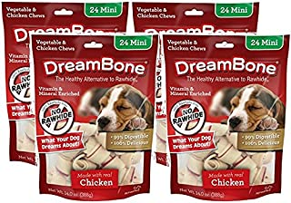 DreamBone 4 Pack of Vegetable and Chicken Dog Chews, Mini, 24 Per Pack