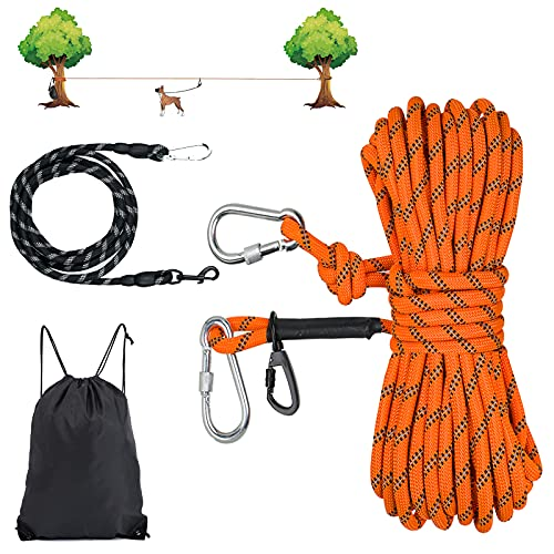 Dog Tie Out Cable for Camping,50ft Dog Tie Out Trolley System with 10ft Dog Runner Cable for Small to Large Dogs Up to 200lbs,Heavy Duty Dog Lead Line for Yard, Park and Outdoor (50FT&10FT, Orange)