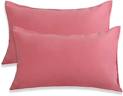 Best Season Standard Size Pillowcases Set of 2 ,Soft Microfiber Pillow Case for Hair and Skin,Wrinkle,Fade Resistant Pillow Covers with Envelope Closure(Pink Color)