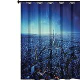 YUAZHOQI - Cortinas de ducha con ganchos, diseño de horizonte al atardecer, ciudad europea, parisina, viajes, destino, monocromo, cortina de baño decorativa con ganchos, 167,64 x 182,88 cm, color...