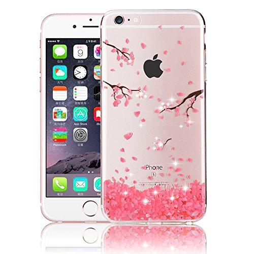 iPhone Xs Max Hülle Diamant, iPhone Xs Max 6.5 Zoll Hülle, SevenPanda Crystal Schutzhülle für iPhone Xs Max Klare Handyhülle Diamant Glitzer Transparent Blumen Pflaumenblüte Handytasche - Kirschblüten