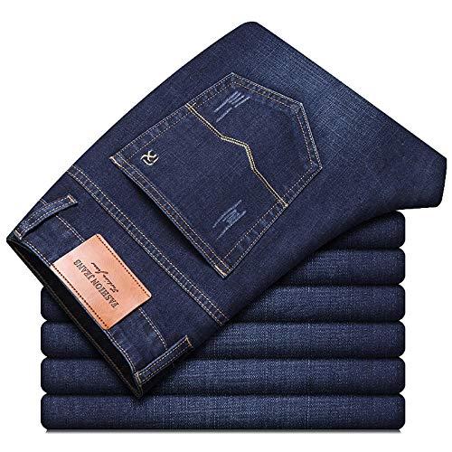 ileibmaoz Jeans Otoño Hombres Pure Black Business Jeans Estilo Clásico Regular Fit Stretch Denim Pantalones...