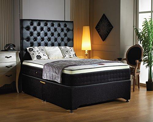 Colchón de espuma viscoelástica de lujo con 2000 muelles en bolsillos individuales 30,5cm con un somier de felpilla de 2 cajones de base y cabecero del mismo diseño, tela, negro, King Size (5'0)