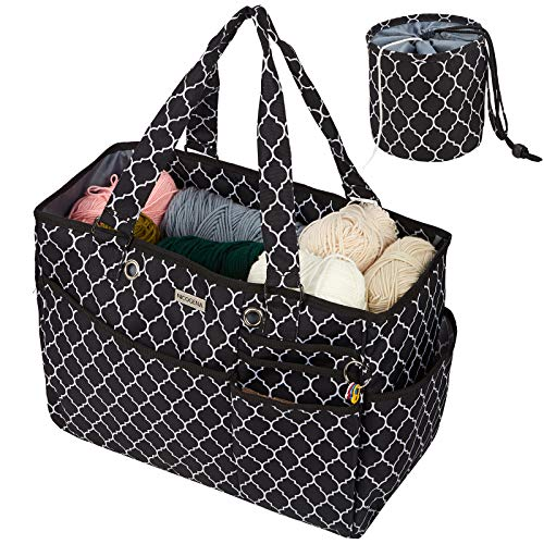 NICOGENA Travel Knitting Bag, Large Capacity Portable Yarn Storage Tote for Yarn Skeins and Accessories Tangle Free with Mini Yarn Drum and 4 Reinforced Grommets, Lantern Black