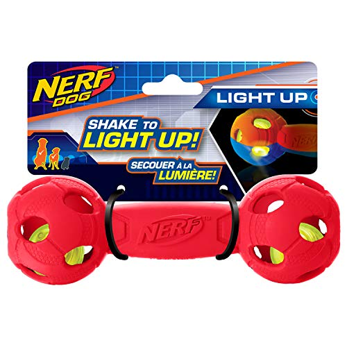 Nerf Dog Rubber Bash Barbell Dog Toy with Interactive LED, Lightweight, Durable and Water Resistant, 7 Inches, for Medium/Large Breeds, Single Unit, Red