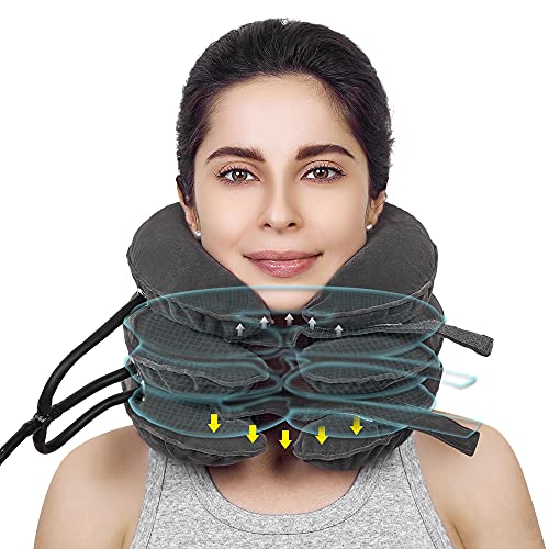 Cervical Neck Traction Device &Inflatable Adjustable Neck Stretcher Provide Neck Support Neck Traction and Neck Pain Relief,Neck Brace and Cervical Traction Device is The Neck Care Equipment