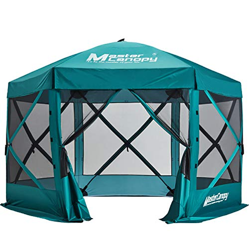 MASTERCANOPY Escape Shelter, 6-Sided Canopy Portable Pop up Canopy Durable Screen Tent Bug and Rain Protection (7-9 Persons), (140''x140'', Emerald Green)