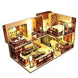 erhumama Casa de muñecas 3D DIY China de madera creativa habitación miniatura Loft casa modelo hecho a mano muebles led kits de luz rompecabezas juguete regalo de cumpleaños