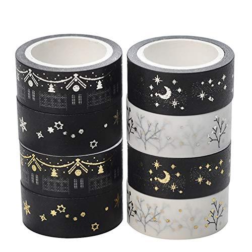 Exceart 8Pcs Washi Tape Set Glitter Cintas Decorativas para Artes Diy Manualidades...