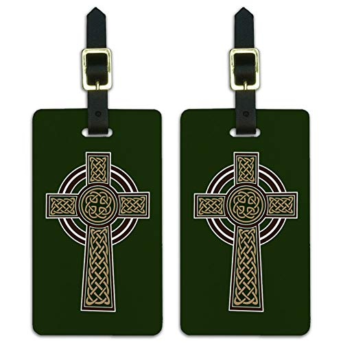 Celtic Christian Cross Irish Ireland Luggage ID Tags Carry-On Cards - Set of 2