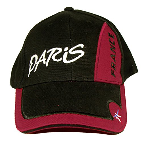 Souvenirs de France - Casquette Paris - Taille réglable - Couleur : Noir, Rouge