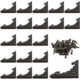 KAILEE 20 Stück Eckenschutz Metall Vintage Schutzecken Antike Metallecken Kantenschutz mit Schrauben Dekoration für Möbel Kleine Holzkiste Schmuck Zubehör