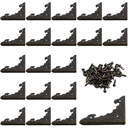 KAILEE 20 PCS Protezioni Angolari in Anticato Angolo Bronzo Design Vintage per Armadietti Mobili e Portagioielli Scrivanie Cassettiere Contenitori in Legno e Angoli DIY Dimensioni 40 * 40 * 5mm