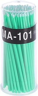 100個使い捨てマイクロアプリケータブラシまつげエクステンション綿棒まつげマイクロブラシワンドメイクアップツール(グリーン、ブラシ直径2mm)