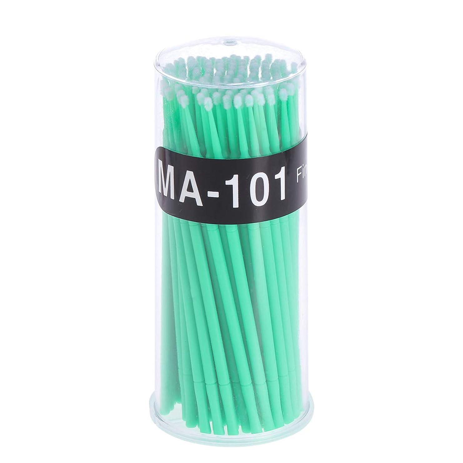 メジャー社説魔法100個使い捨てマイクロアプリケータブラシまつげエクステンション綿棒まつげマイクロブラシワンドメイクアップツール(グリーン、ブラシ直径2mm)