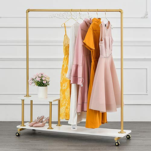 BOSURU Metal Rolling Clothing Rack on Wheels Industrial Pipe Clothes Rack with Wood Shelves Heavy Duty Modern Garment Rack for Laundry Room Retail Store Gold 51 H