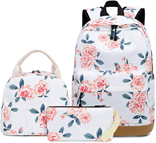 BLUBOON School Backpack Set Girls Womens Laptop Bookbag Casual Daypacks Floral Laptop Bag Lunch Tote Bag and Pencil Case (Rose White-0041)