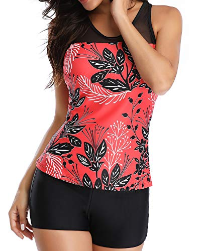 Yonique Tankini Swimsuits for Women with Shorts Athletic Two Piece Bathing Suits Racerback Tank Tops Swimwear