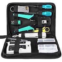 Professional: Kit d'outils de réseau 12 en 1 avec outils de sertissage, testeur réseau, connecteur RJ45 Crystal, cache connecteur, outil de poinçonnage, coupleur RJ45, coupleur 3 voies, pince à dénuder, serre-câble en nylon, batterie 9V, sac à outils...