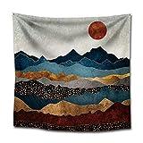 GenericBrands Montagne Tapisserie Lune Nuit Nature Paysage Décoration Nappe Fond Tissu Tenture Murale pour Chambre