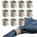 mDesign Round Modern Rustic Metal Napkin Rings for Home, Kitchen, Dining Room, Dinner Part...