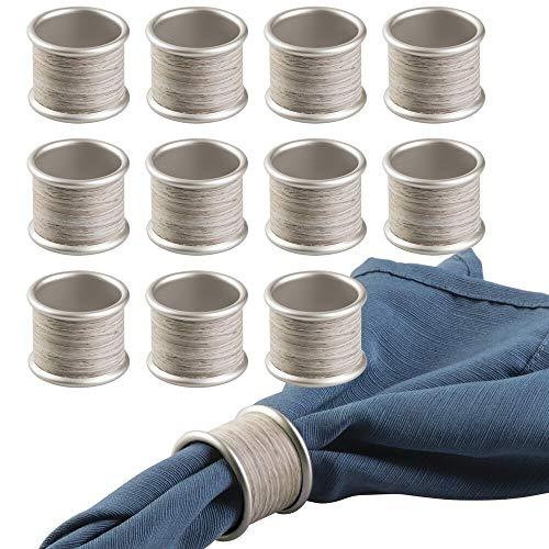 mDesign 12er-Set Serviettenringe - praktische Serviettenhalter aus Metall - mit edlen Holzakzenten - ideal als Stoffserviettenring - mattsilber