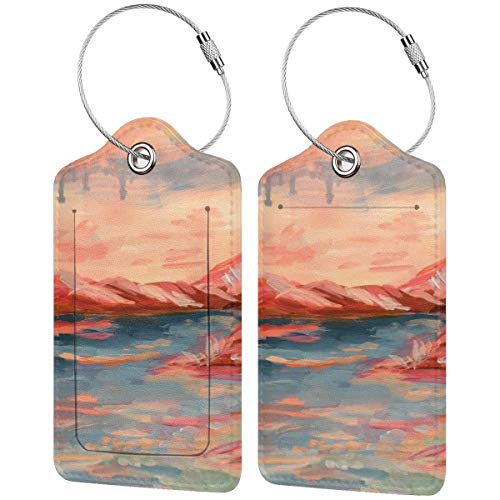 Coral Oasis Personalized Leather Luxury Suitcase Tag Set Travel Accessories Luggage Tags