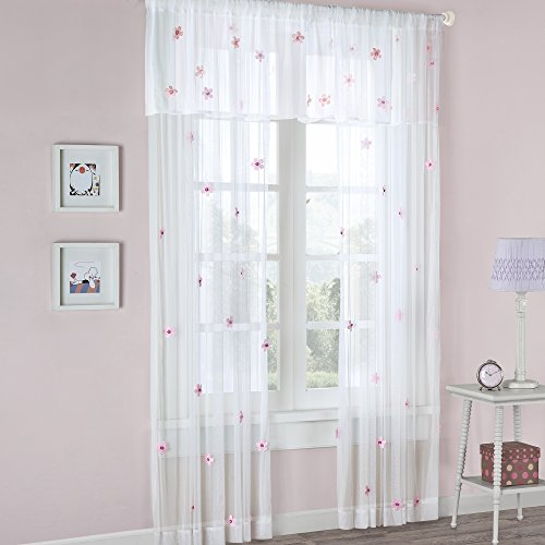 """White Sheer Curtains For Bedroom, Modern Contemporary Window Curtain 84 inches Long , Lily Floral Rod Pocket Pink Sheer Curtain , 52X84"""", 1-Panel Pack"""