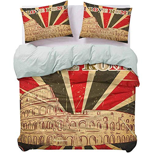 UNOSEKS LANZON Duvet Cover I Love Rome Lettering with Circus Tent and Bold Stripes Ancient Print Premium Quilt Cover Breathable and Comfortable Red Dark Green and White, Queen Size