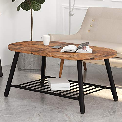 IRONCK Industrial Oval Coffee Tables for Living Room, 2-Tier Tea Table with Storage Shelf, Easy Assembly, Rustic Home Decor