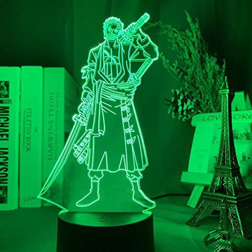 3D noche luz Roronoa zoro figura led noche luz para niños dormitorio decoración japonesa anime una pieza noche lámpara de mesa zBXQ
