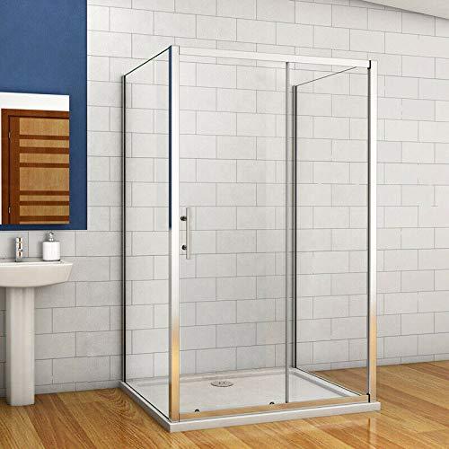 Aica Sanitär Duschkabine Duschabtrennung 120x76x76cm U Form duschkabine Dusche Seitenwände Schiebetür Gleittür H190cm