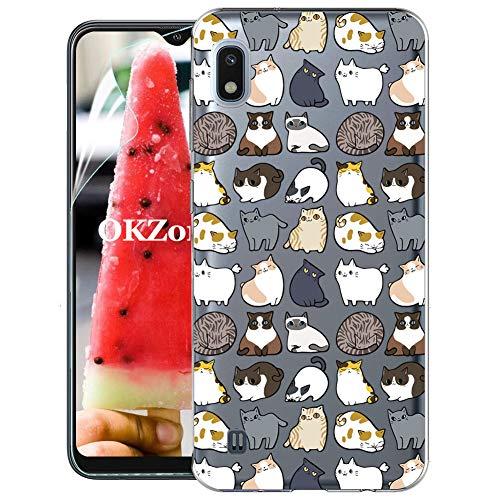 OKZone Cover Galaxy A10 [con Pellicola Proteggi Schermo], Custodia Gel Trasparente Morbida Silicone Sottile TPU Cover Protettiva Compatibile con Samsung Galaxy A10 (Gatto)