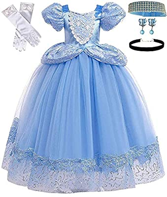 Romy's Collection Princess Cinderella Blue Toddler Girls Costume Dress Up(4-5, Blue 04)