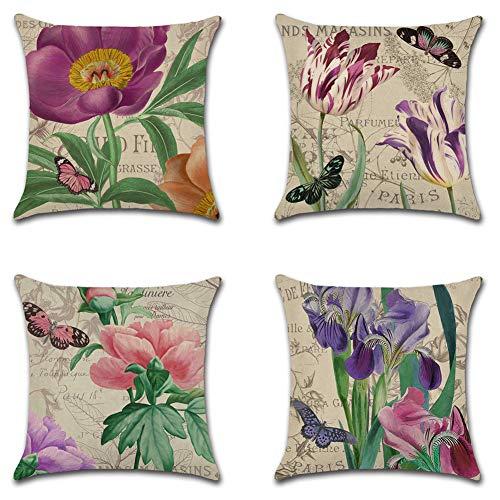 Artscope Juego de 4 fundas de almohada decorativas de 45,7 x 45,7 cm, diseño de flores moradas vintage, perfectas para exteriores, patio, jardín, sala de estar, sofá, decoración de casa de campo